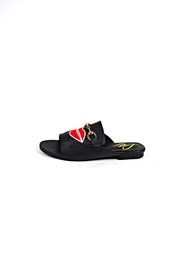 Ana Colina Boutique Black Lips Slide Sandals - Front cropped