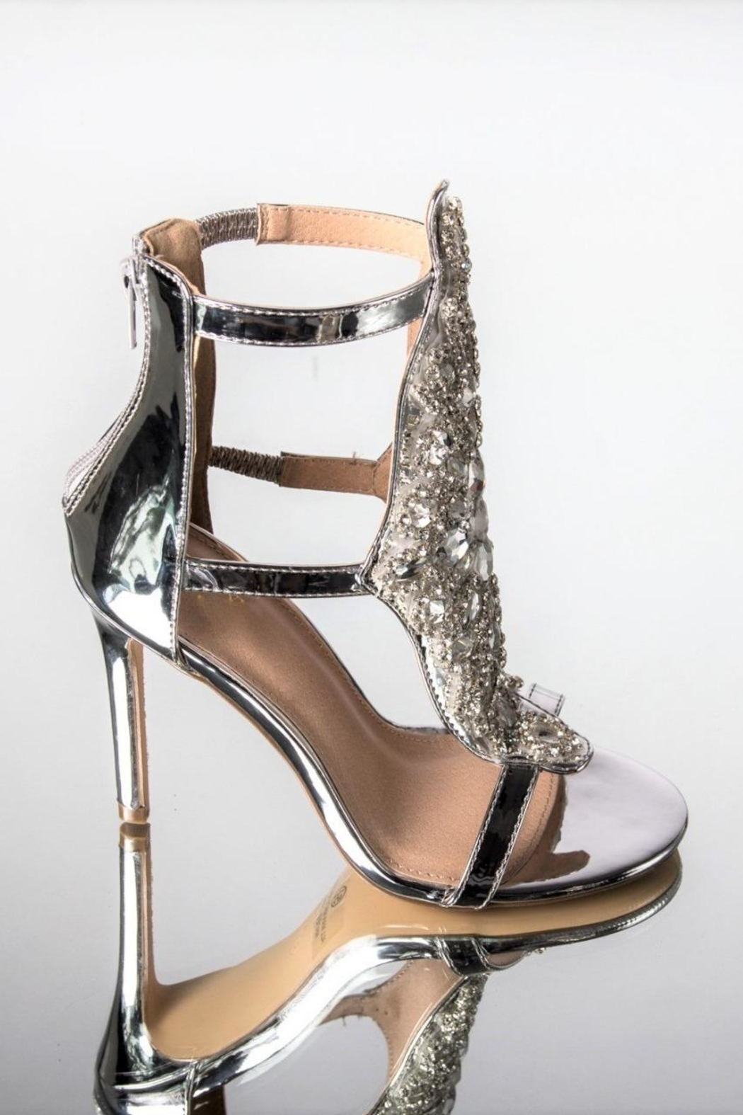 ANA PEREZ Silver Fancy Heels - Front Full Image