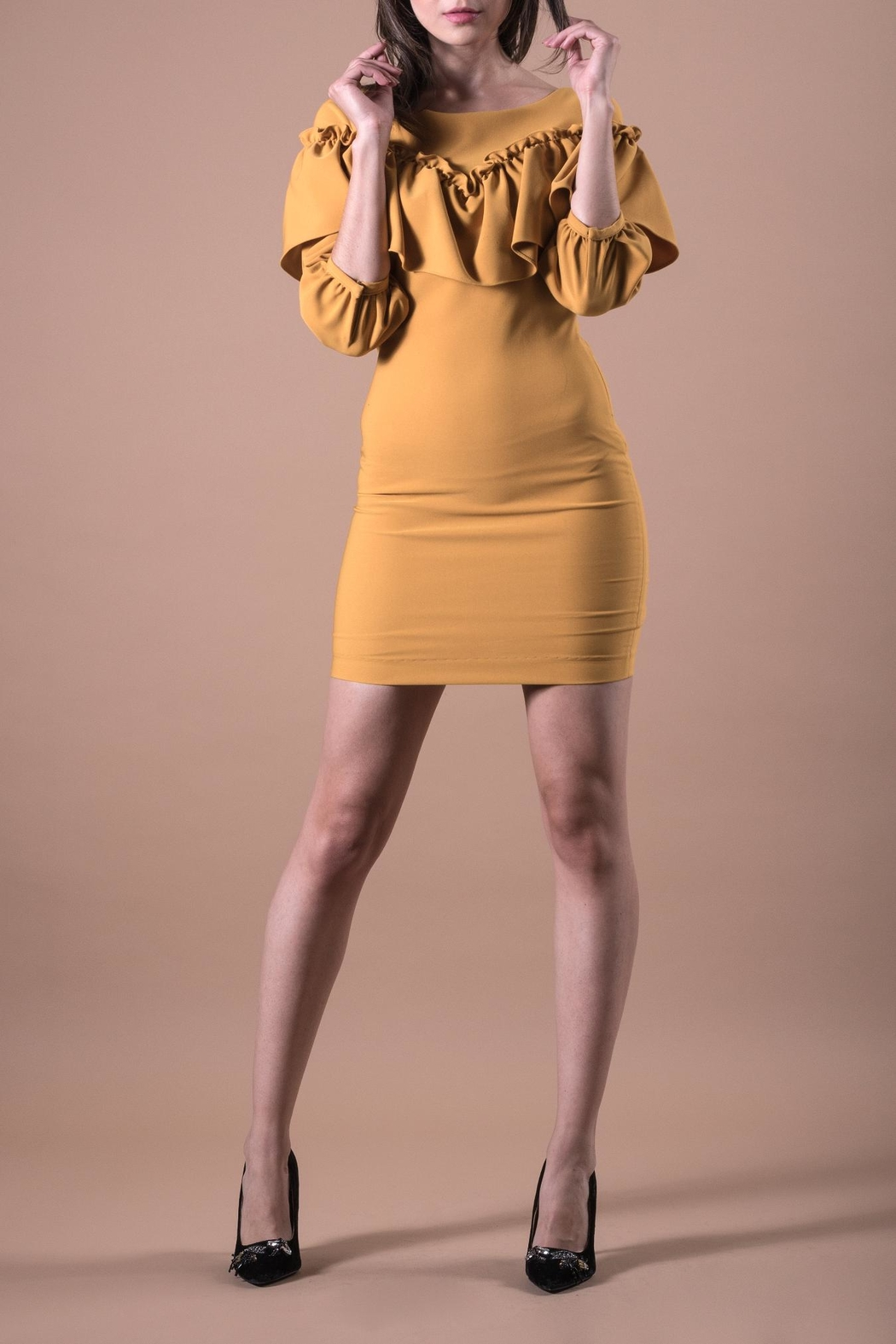 ANA PEREZ Yellow Casual Dress - Front Cropped Image