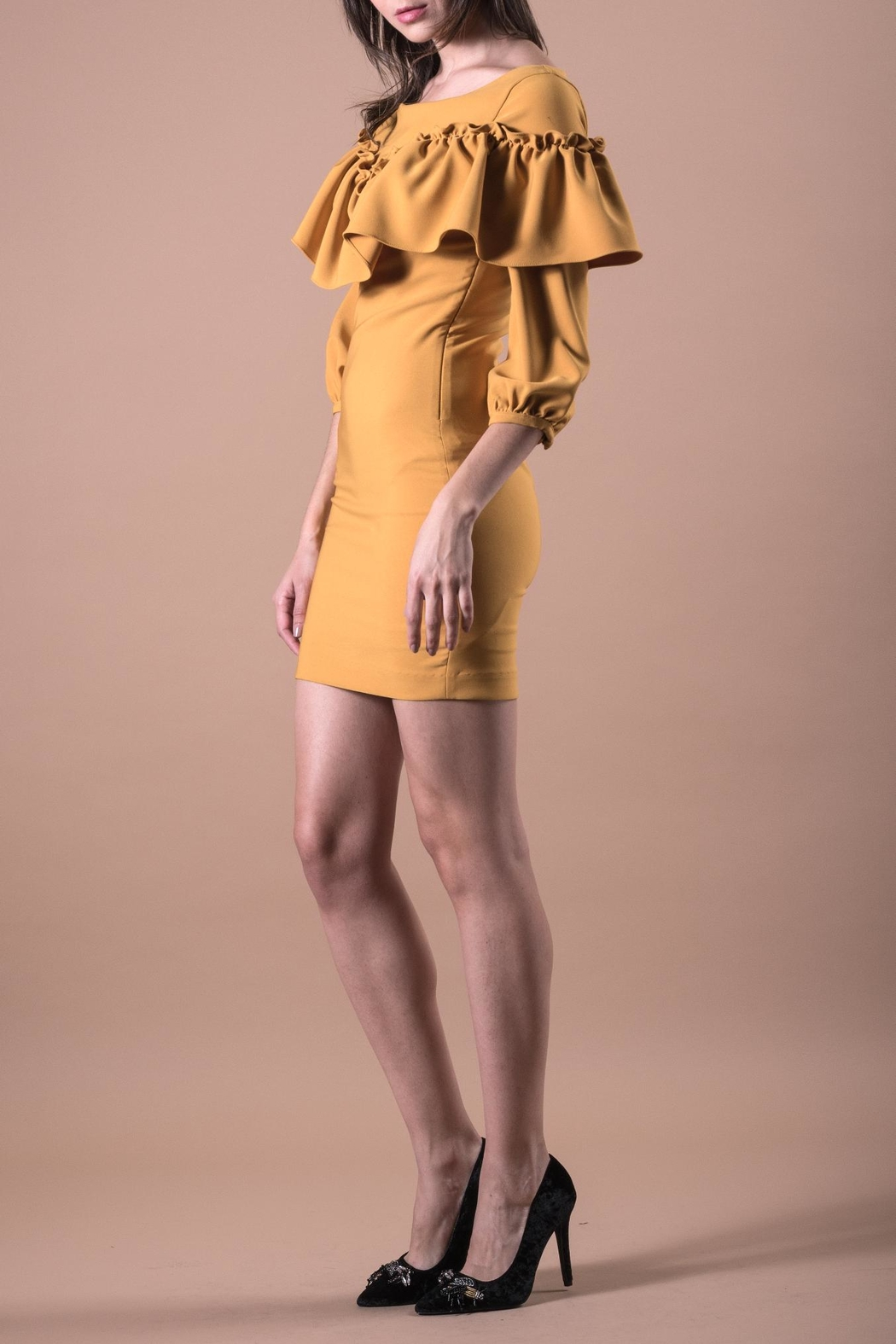 ANA PEREZ Yellow Casual Dress - Front Full Image