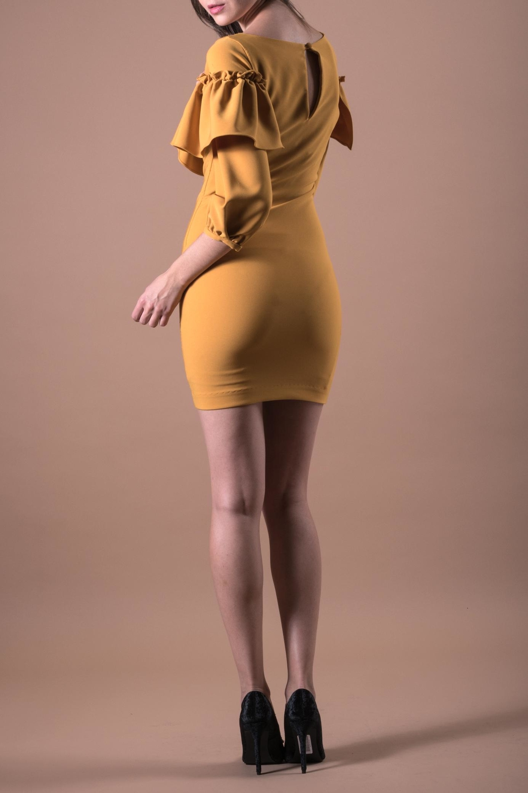 ANA PEREZ Yellow Casual Dress - Side Cropped Image