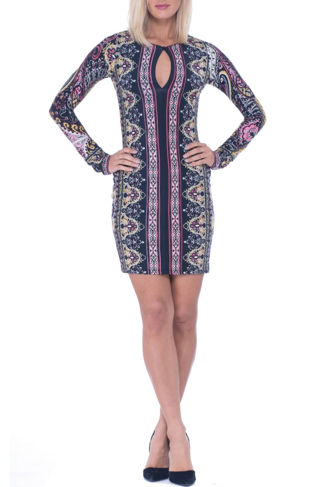 Analili Baroque Pattern Dress - Front Cropped Image