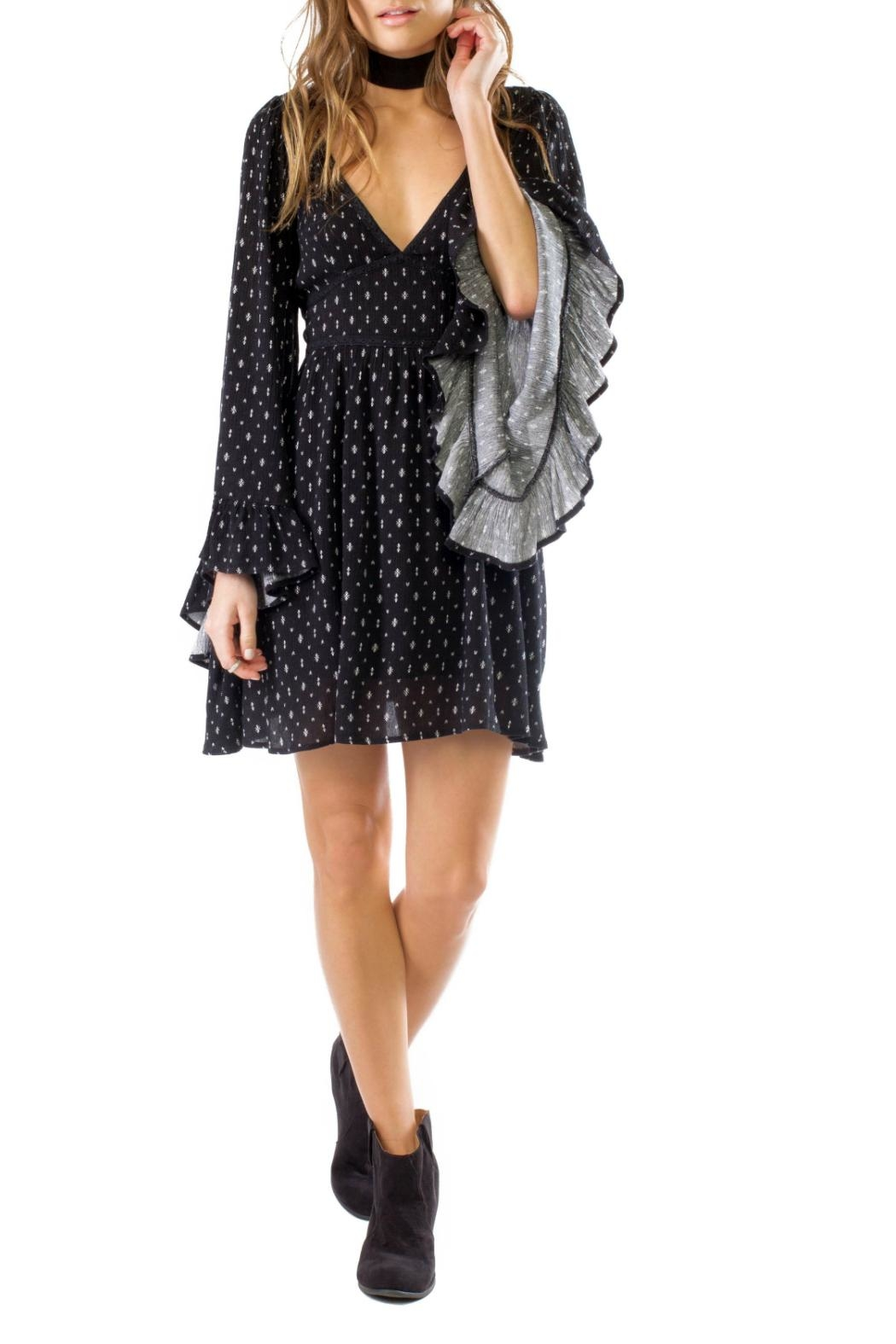 Anama Black Bell Sleeve Dress - Front Cropped Image