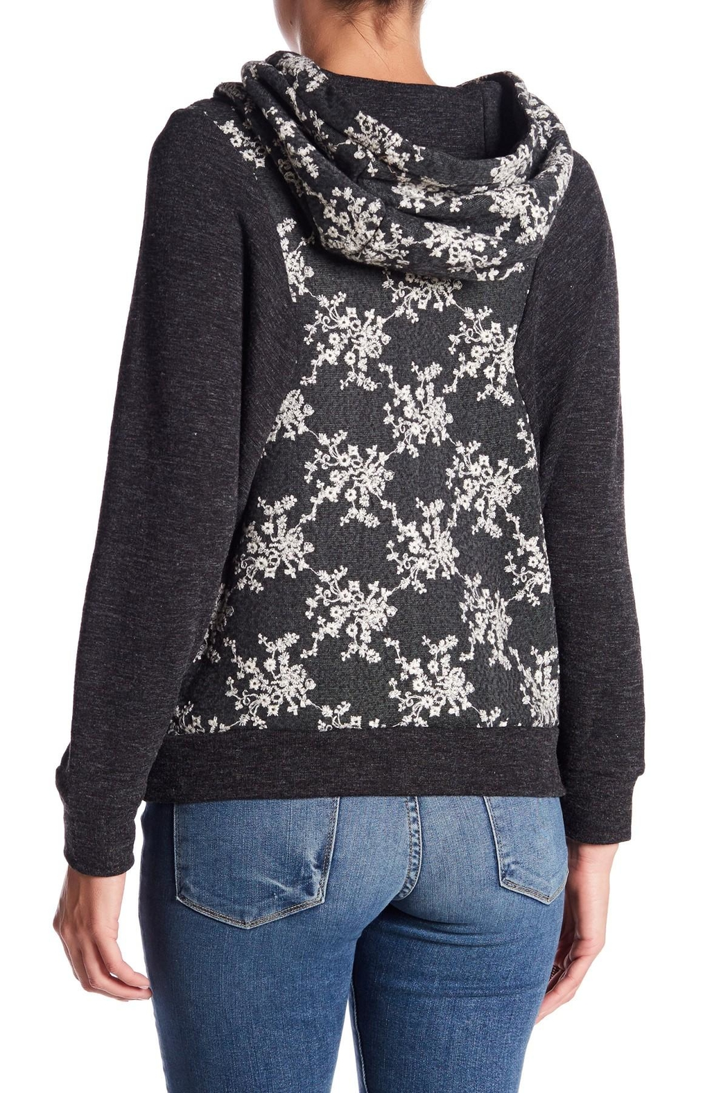 Anama Charcoal Floral Hoodie - Front Full Image
