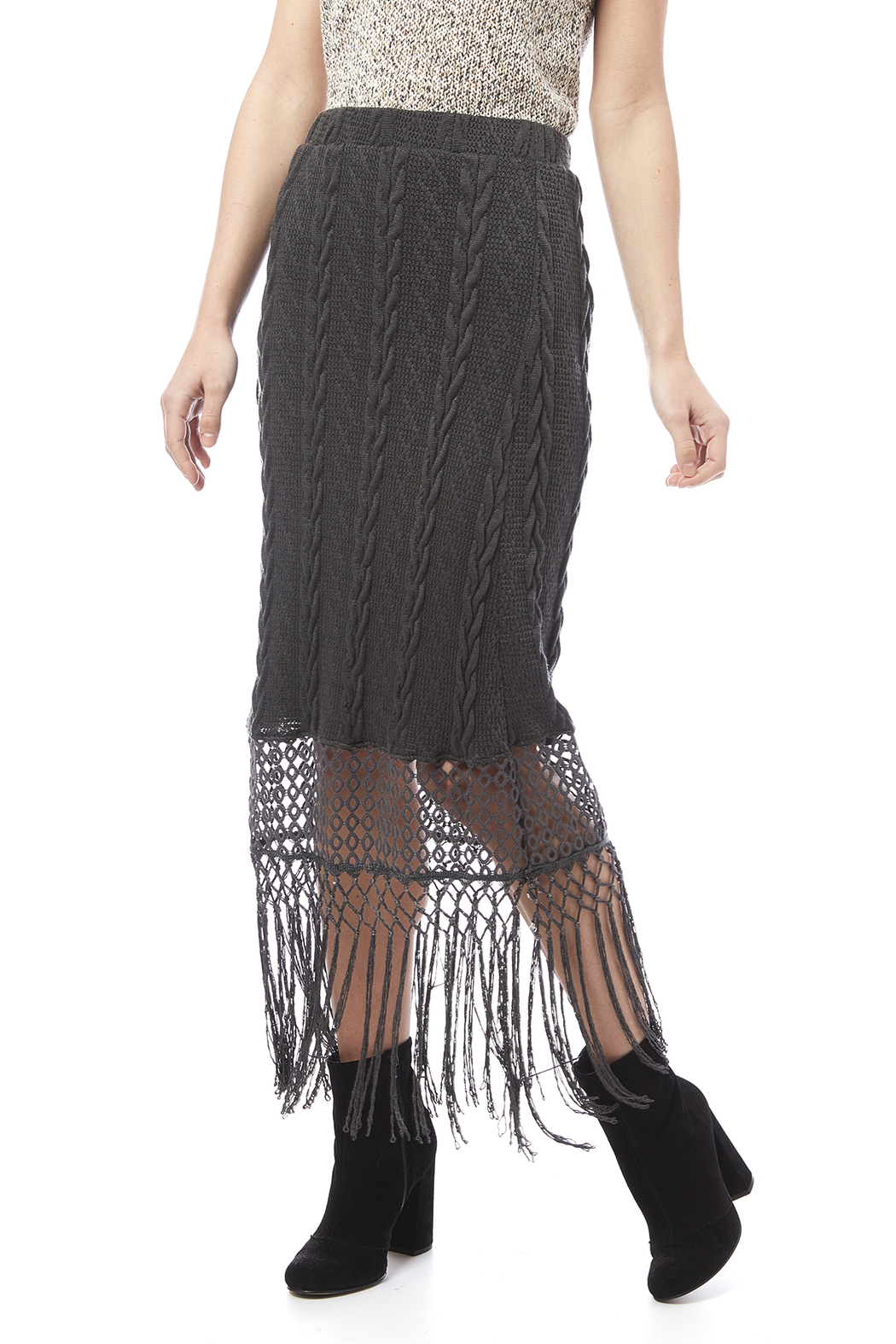anama fringe maxi skirt from chicago by donna