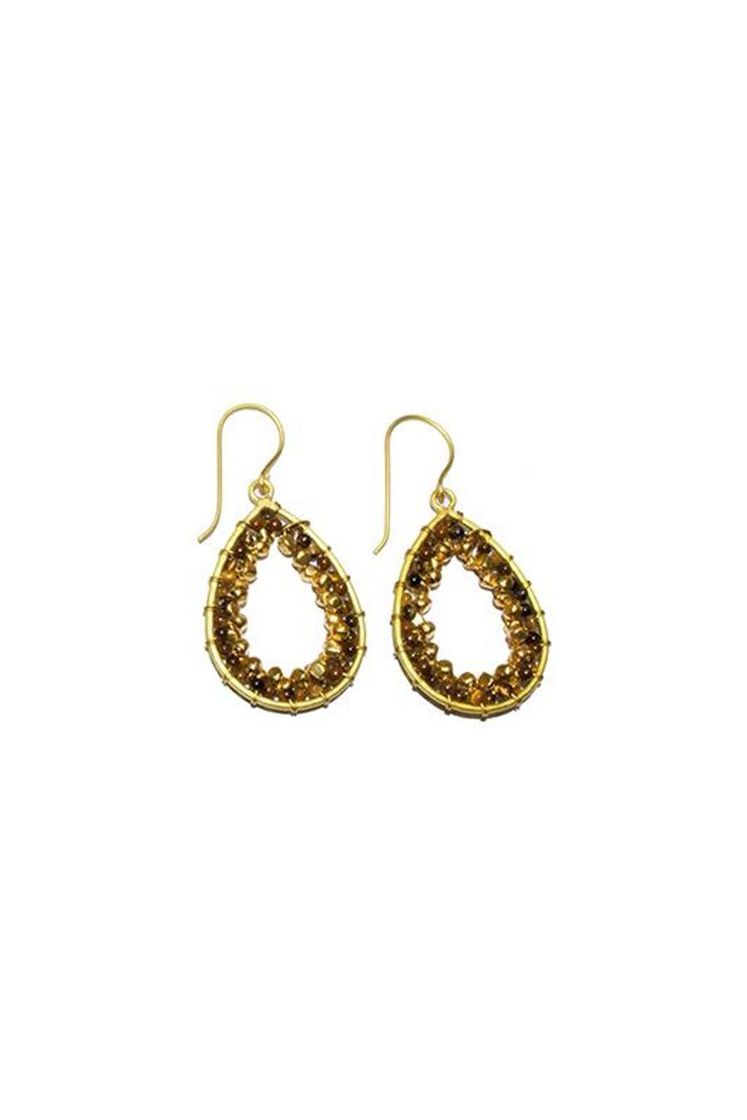 Ananda Brass Beaded Earrings - Main Image