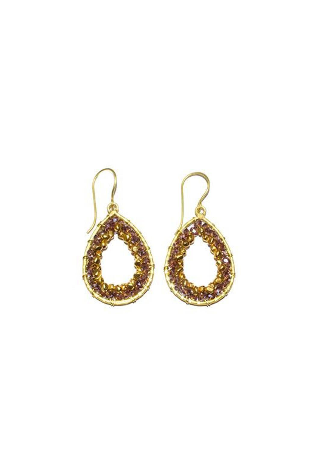 Ananda Brass Beaded Earrings - Front Cropped Image