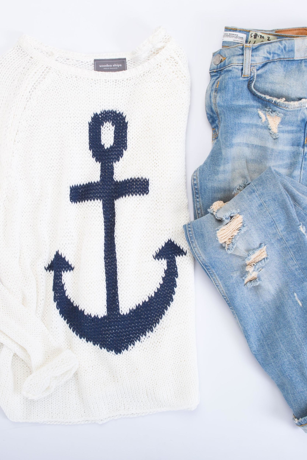 Wooden Ships Nautical Sweater Top - Side Cropped Image