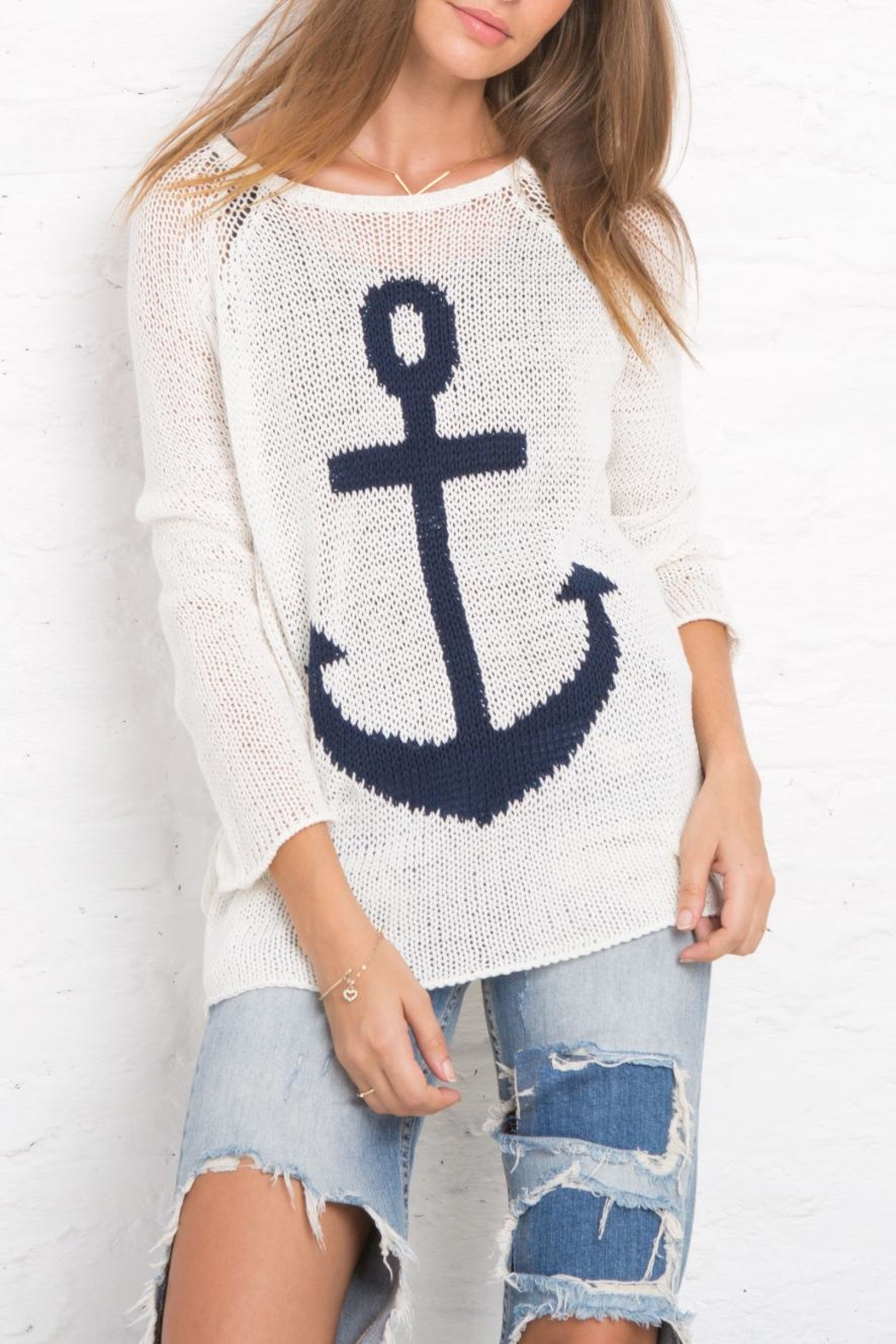 Wooden Ships Nautical Sweater Top - Front Cropped Image