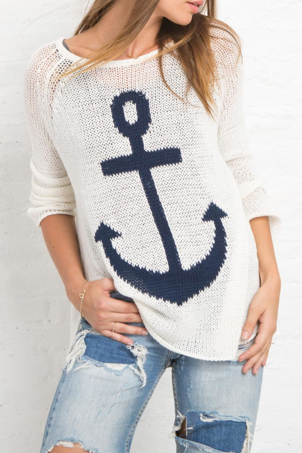 Wooden Ships Nautical Sweater Top - Front Full Image