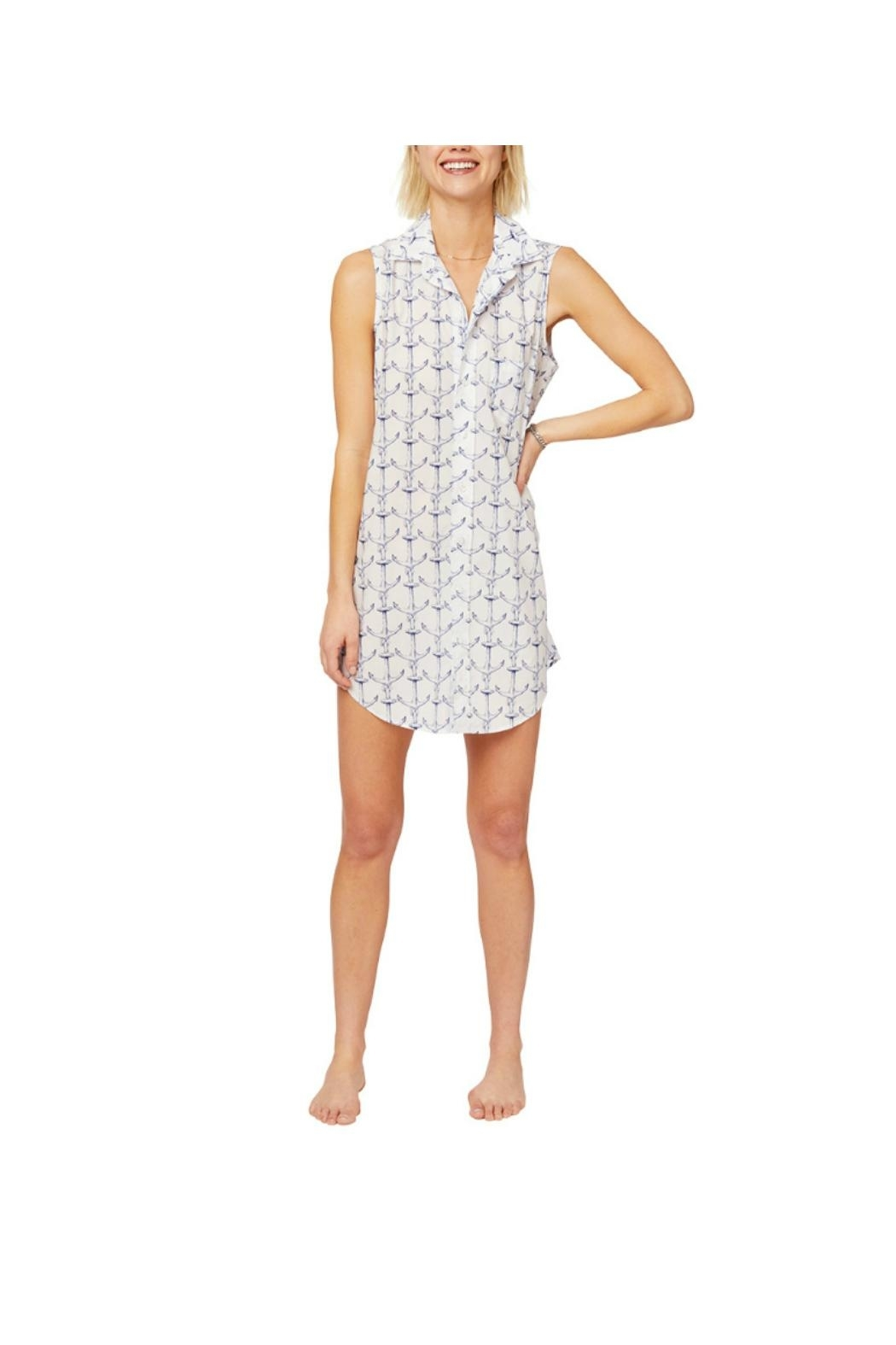 THE CATS PAJAMAS Anchor Sleeveless Nightshirt - Front Cropped Image