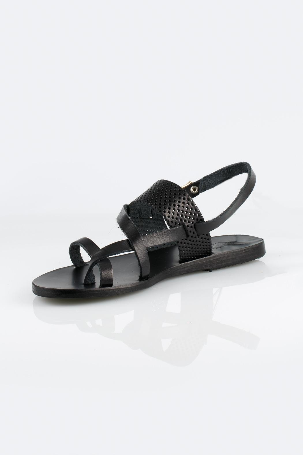 Ancient Greek Sandals Black Leather Sandals - Front Cropped Image