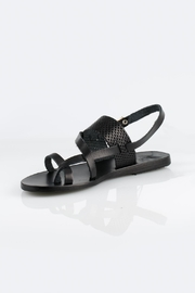 Ancient Greek Sandals Black Leather Sandals - Front cropped