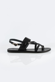 Ancient Greek Sandals Black Leather Sandals - Front full body