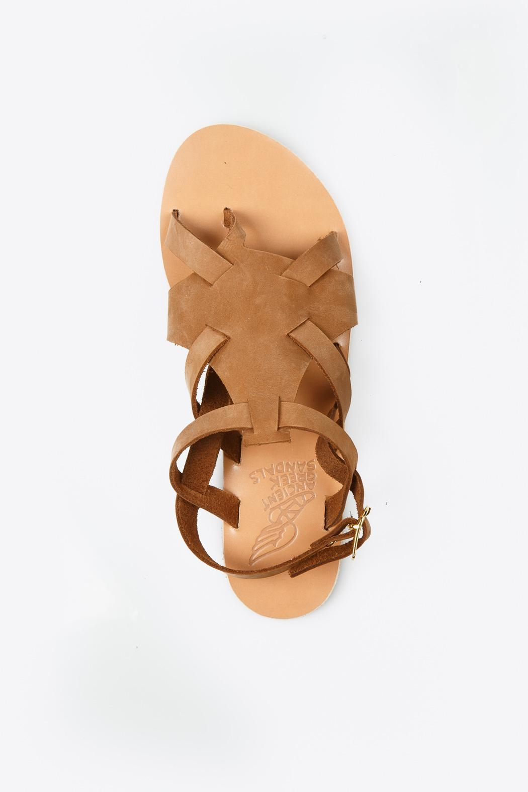 Ancient Greek Sandals Enyo Nubuck Cappuccino Sandals - Back Cropped Image