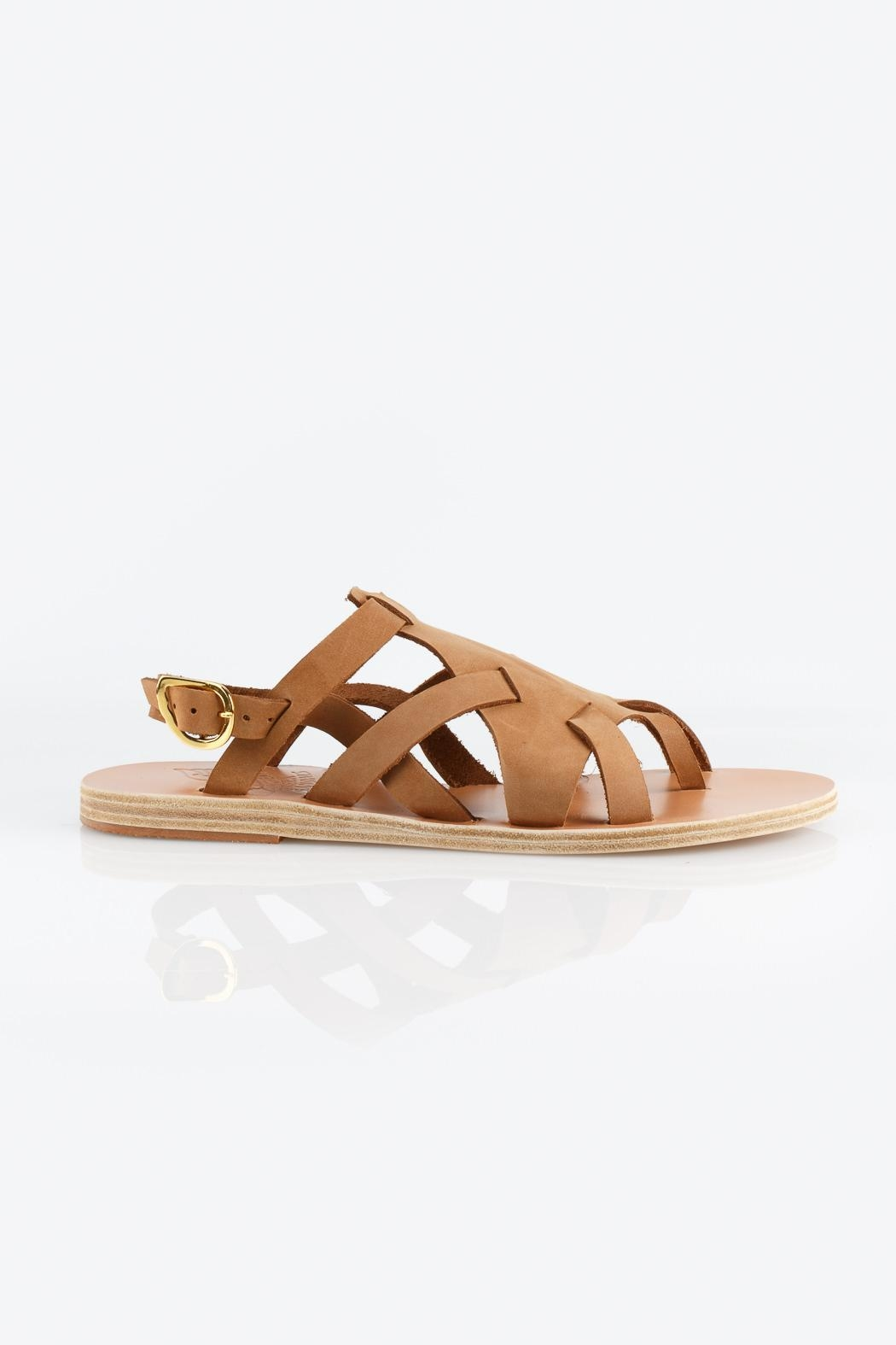 Ancient Greek Sandals Enyo Nubuck Cappuccino Sandals - Front Full Image