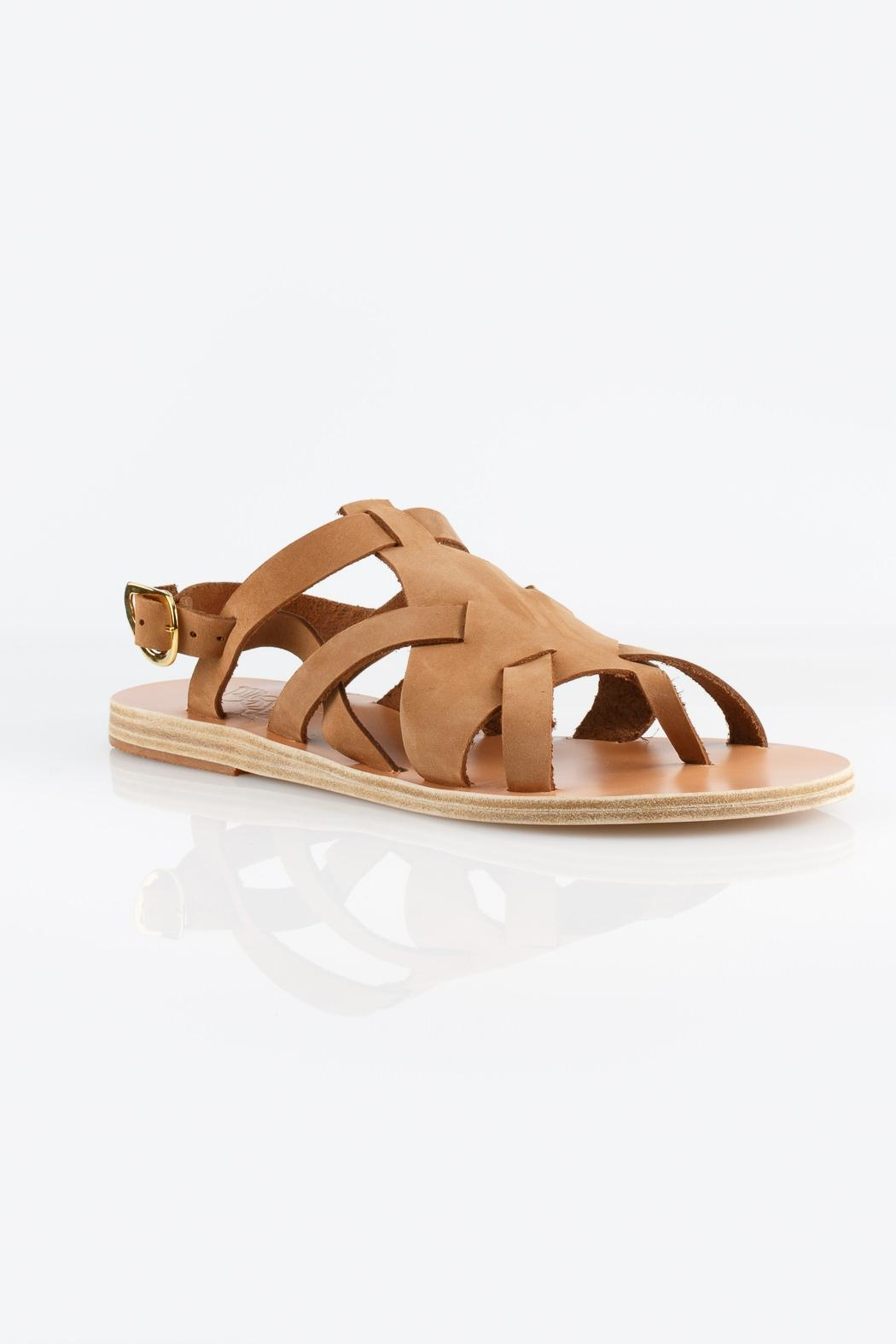 Ancient Greek Sandals Enyo Nubuck Cappuccino Sandals - Side Cropped Image