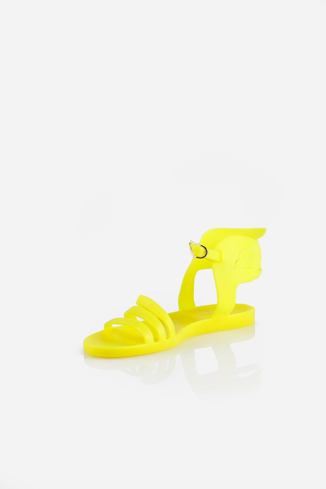 Ancient Greek Sandals Ikaria Fluro Yellow Sandal - Front Cropped Image