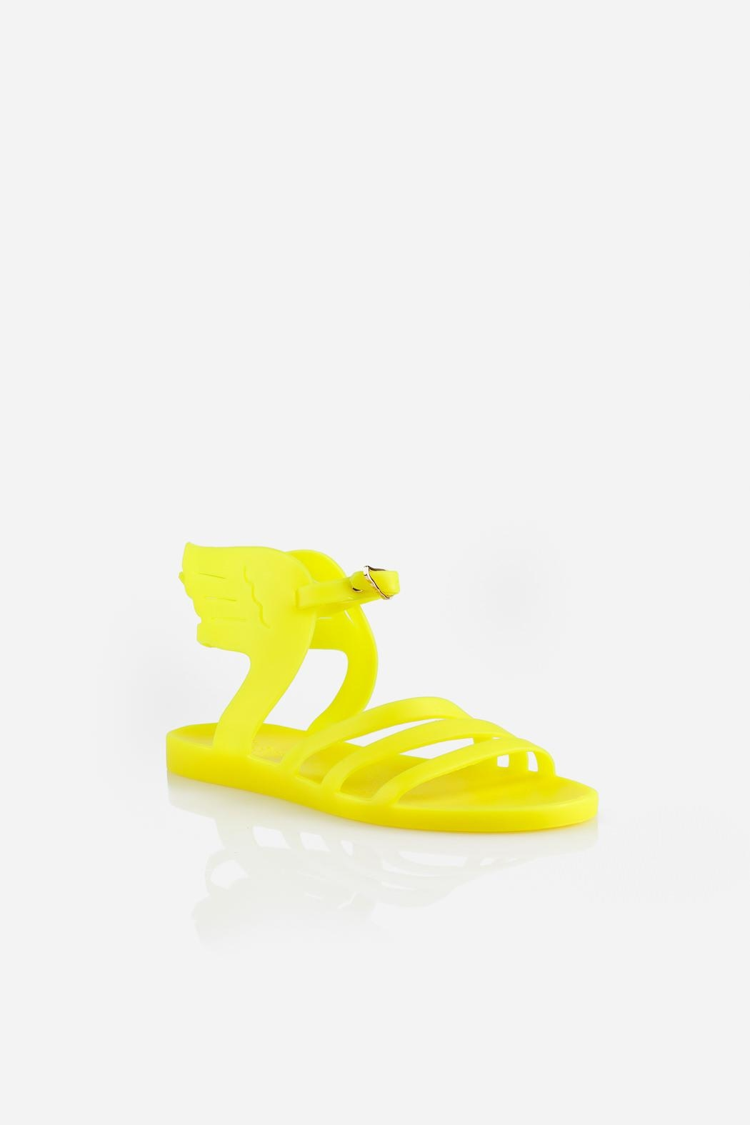 Ancient Greek Sandals Ikaria Fluro Yellow Sandal - Side Cropped Image
