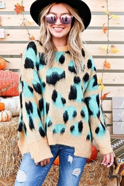 And the Why Animal-Print Cozy Sweater - Front cropped