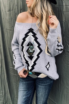 Mint Cloud Boutique Bohemian Aztec Tribal Knit Pullover Sweater - Product List Image