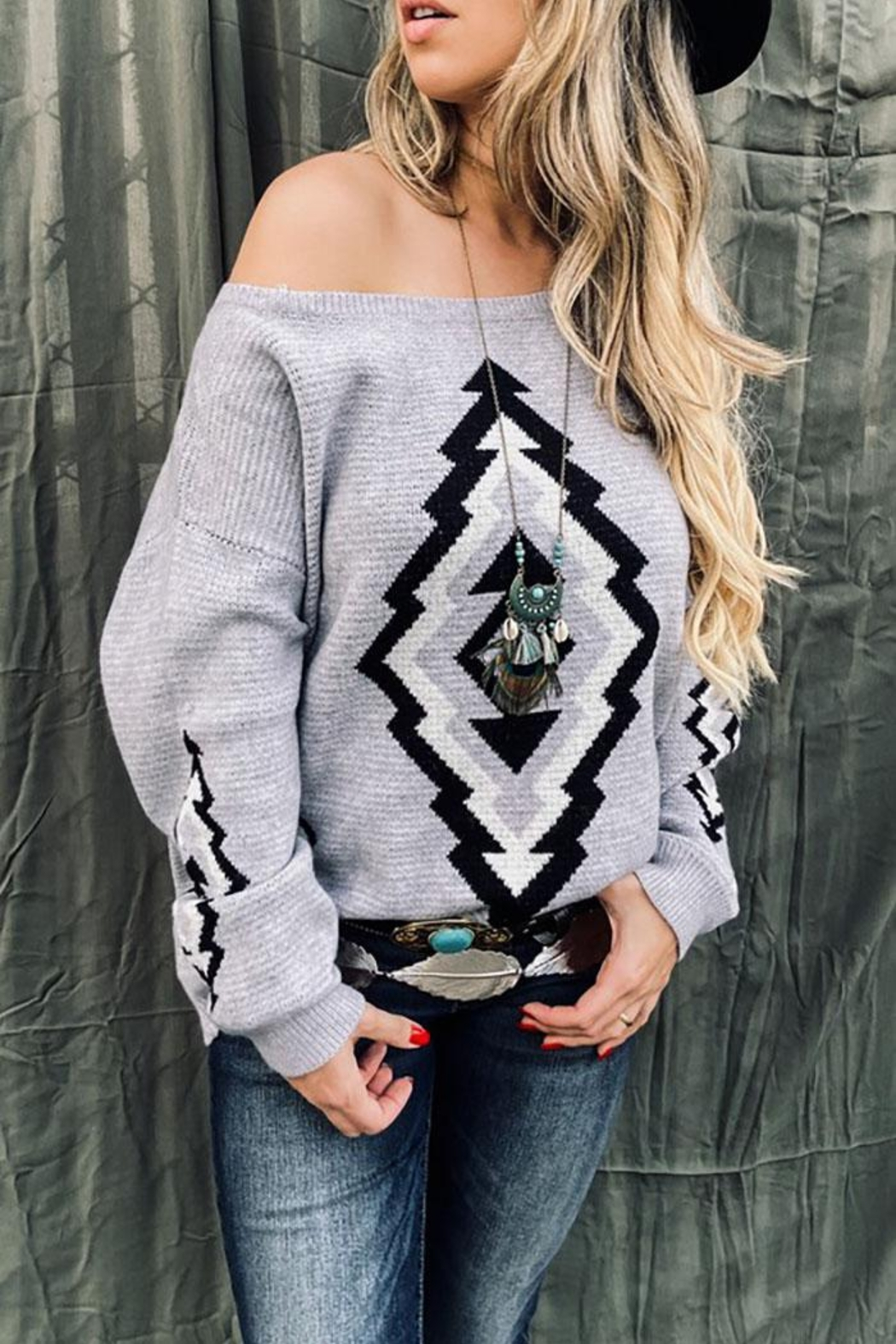 Mint Cloud Boutique Bohemian Aztec Tribal Knit Pullover Sweater - Front Full Image