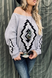 Mint Cloud Boutique Bohemian Aztec Tribal Knit Pullover Sweater - Side cropped