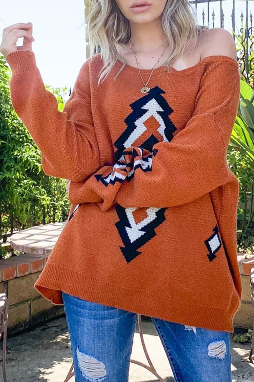 Mint Cloud Boutique Bohemian Aztec Tribal Knit Pullover Sweater - Side Cropped Image