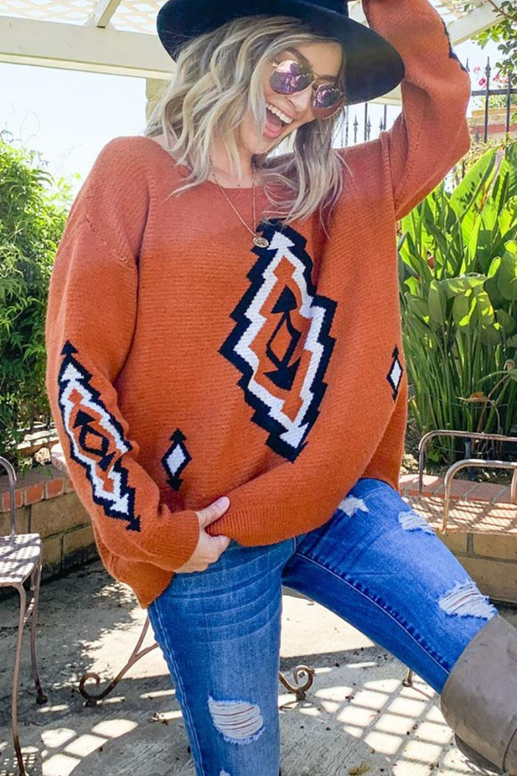 Mint Cloud Boutique Bohemian Aztec Tribal Knit Pullover Sweater - Front Cropped Image