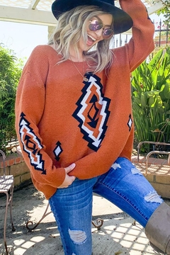 And the Why Bohemian Aztec Tribal Knit Pullover Sweater - Product List Image