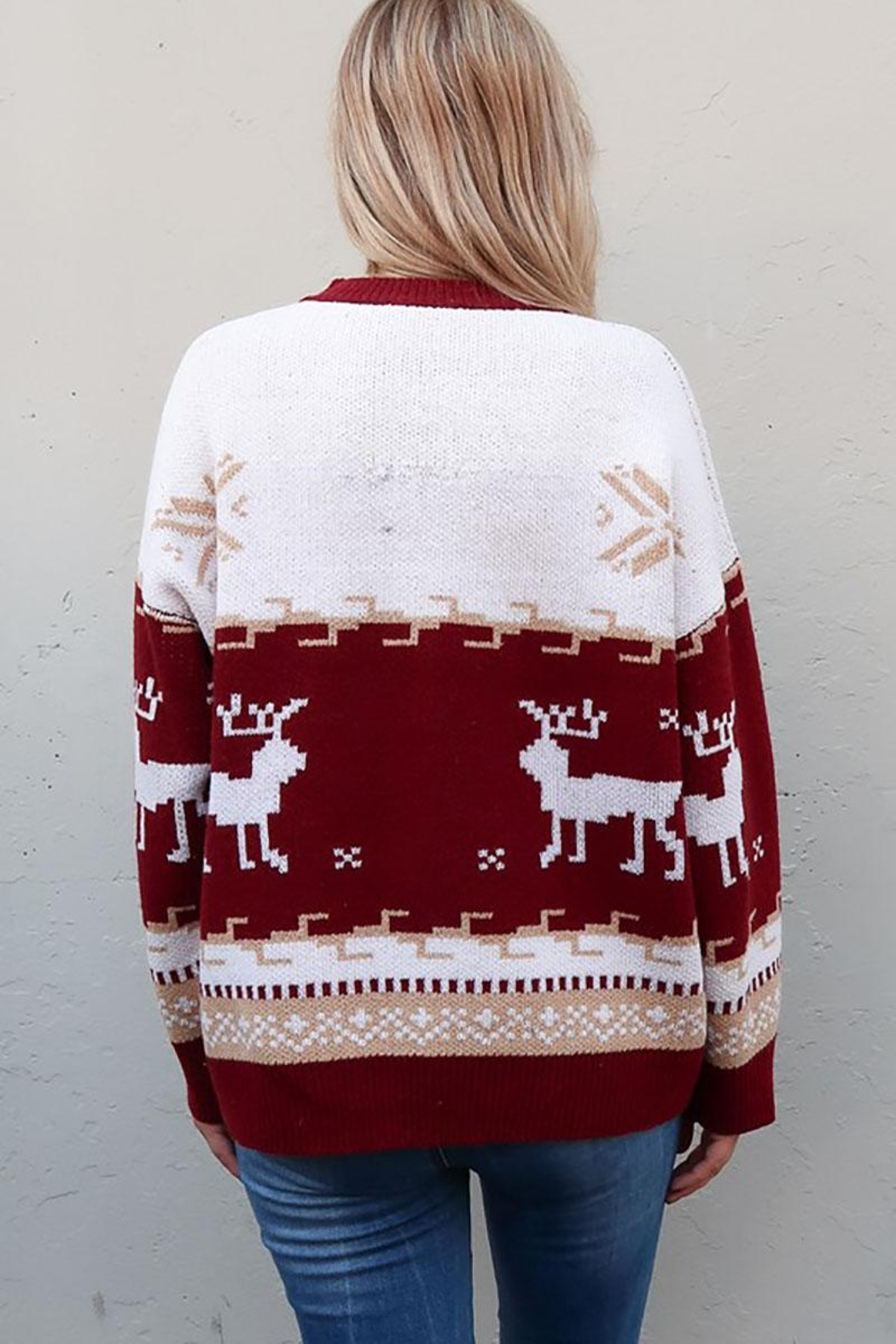 And the Why Christmas Reindeer Knit Cozy Pullover Sweater - Back Cropped Image