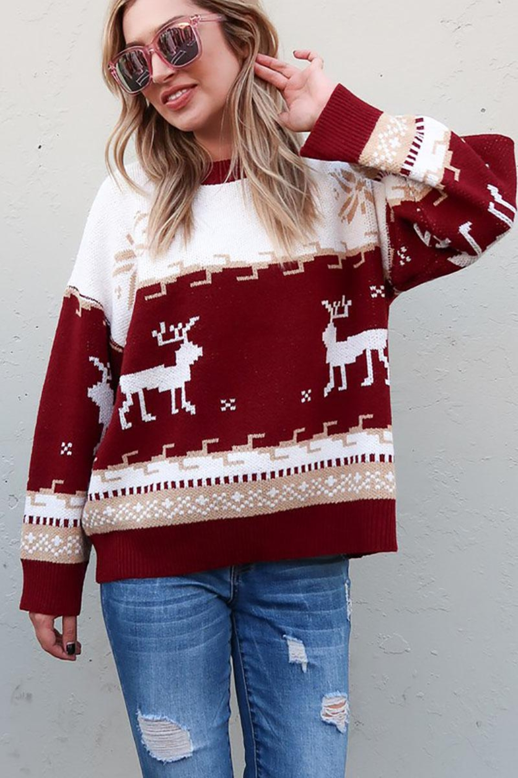 And the Why Christmas Reindeer Knit Cozy Pullover Sweater - Front Full Image