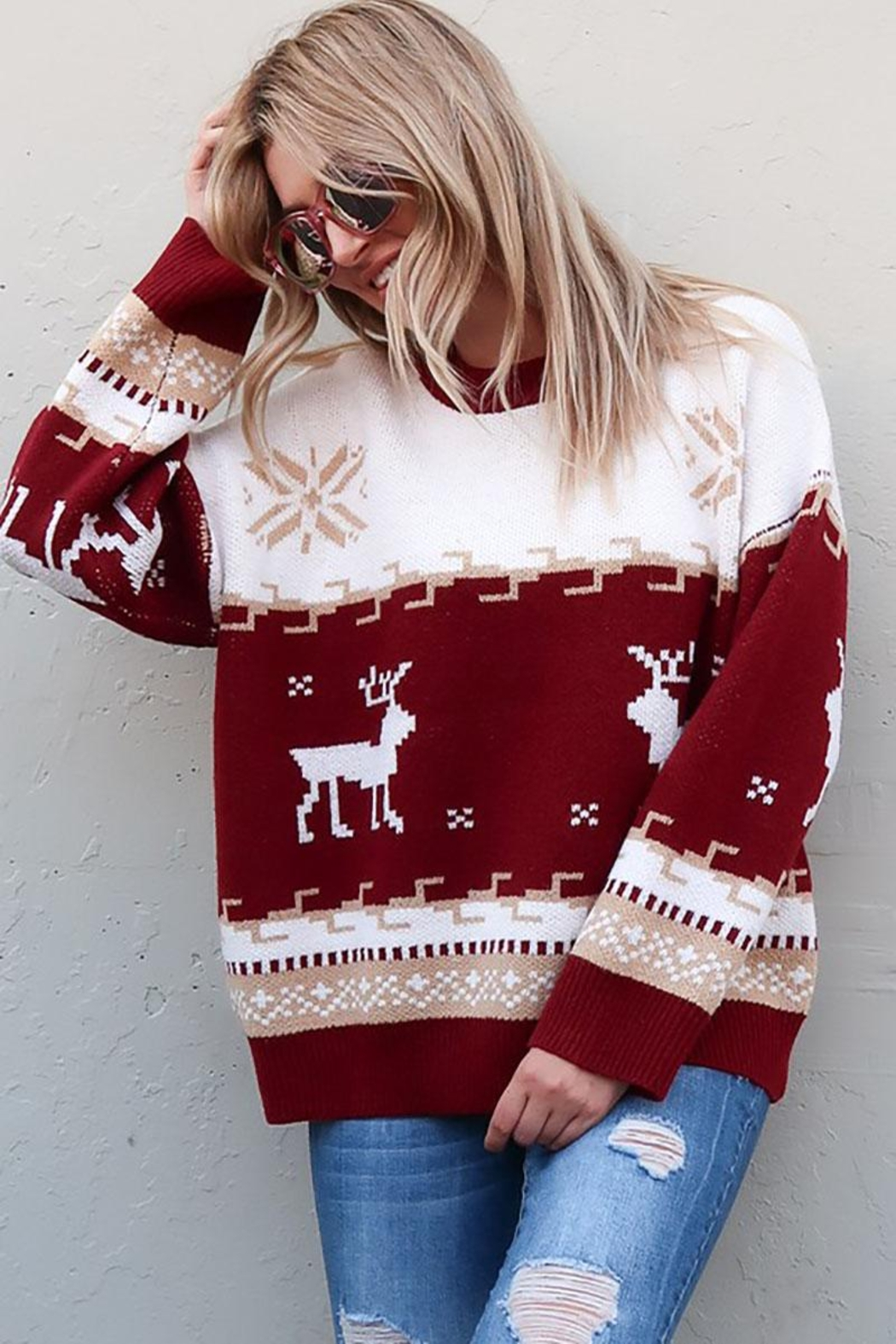 And the Why Christmas Reindeer Knit Cozy Pullover Sweater - Main Image