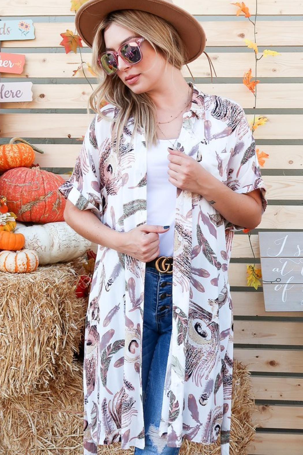 And the Why Feather-Print Shirt Dress - Front Full Image