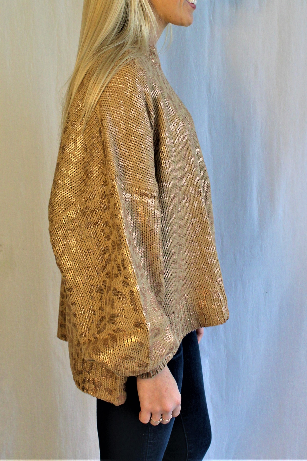 And the Why Gold Cheetah Sweater - Front Full Image
