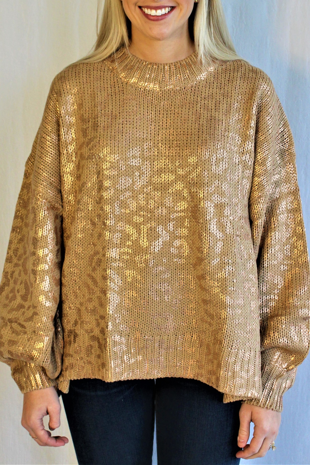 And the Why Gold Cheetah Sweater - Main Image