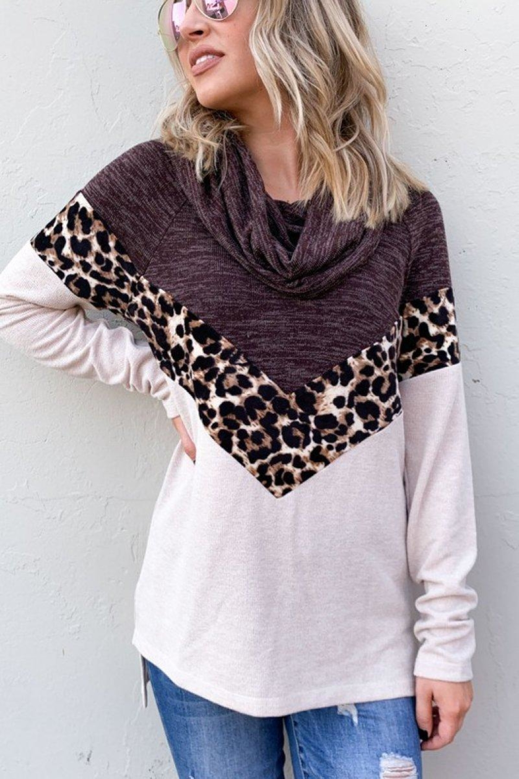 And the Why Leopard Color-Block Top - Main Image