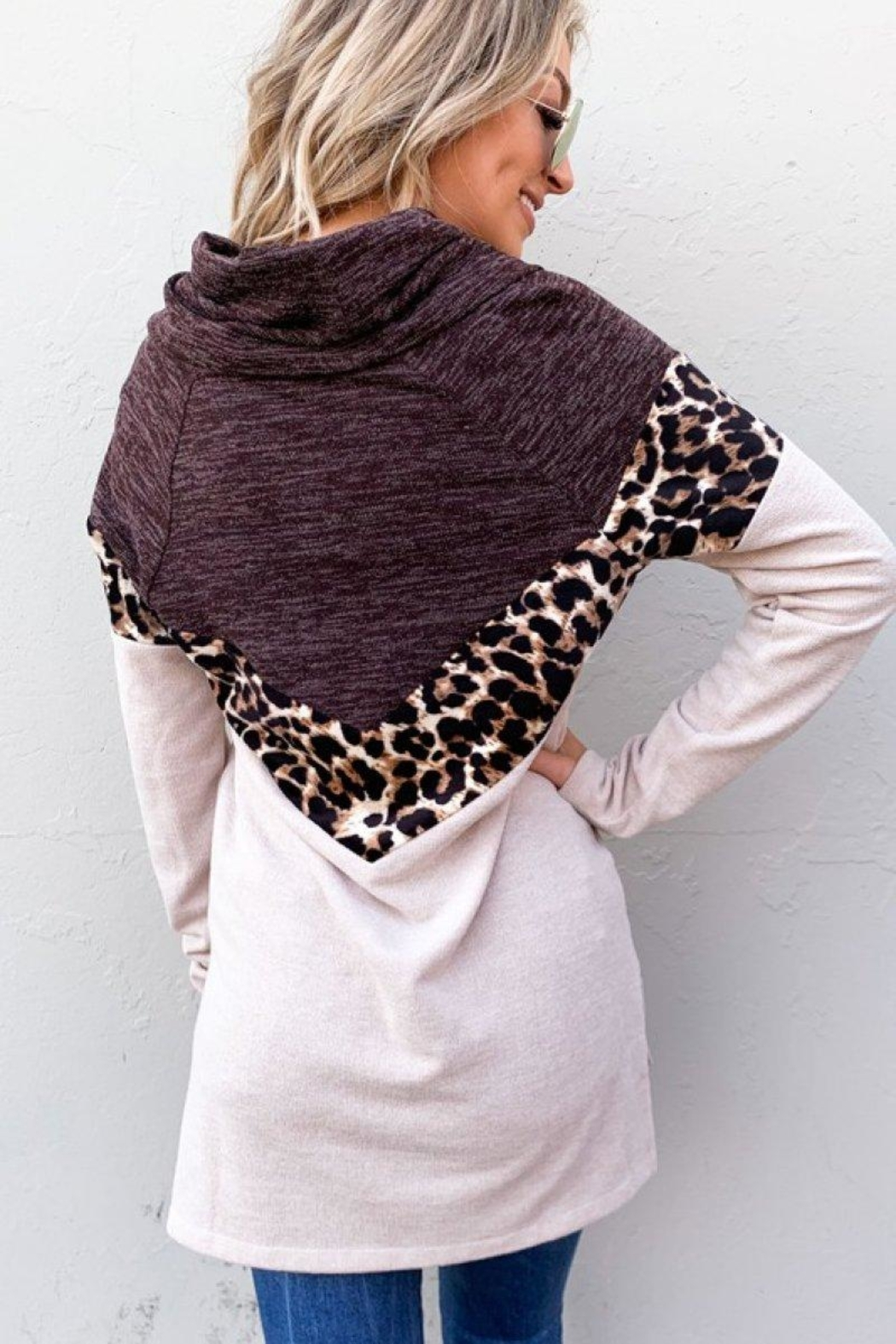 And the Why Leopard Color-Block Top - Back Cropped Image