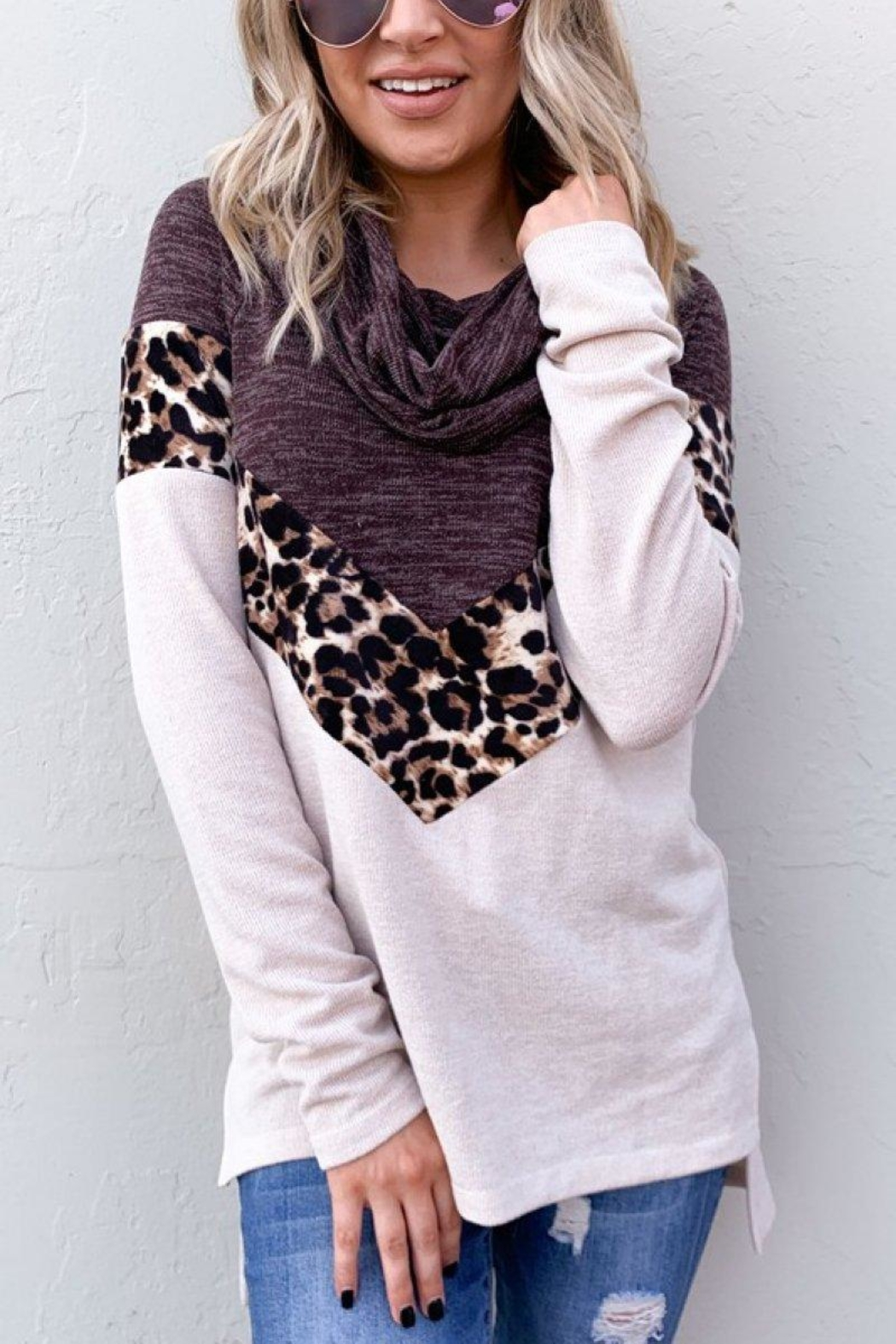 And the Why Leopard Color-Block Top - Front Full Image