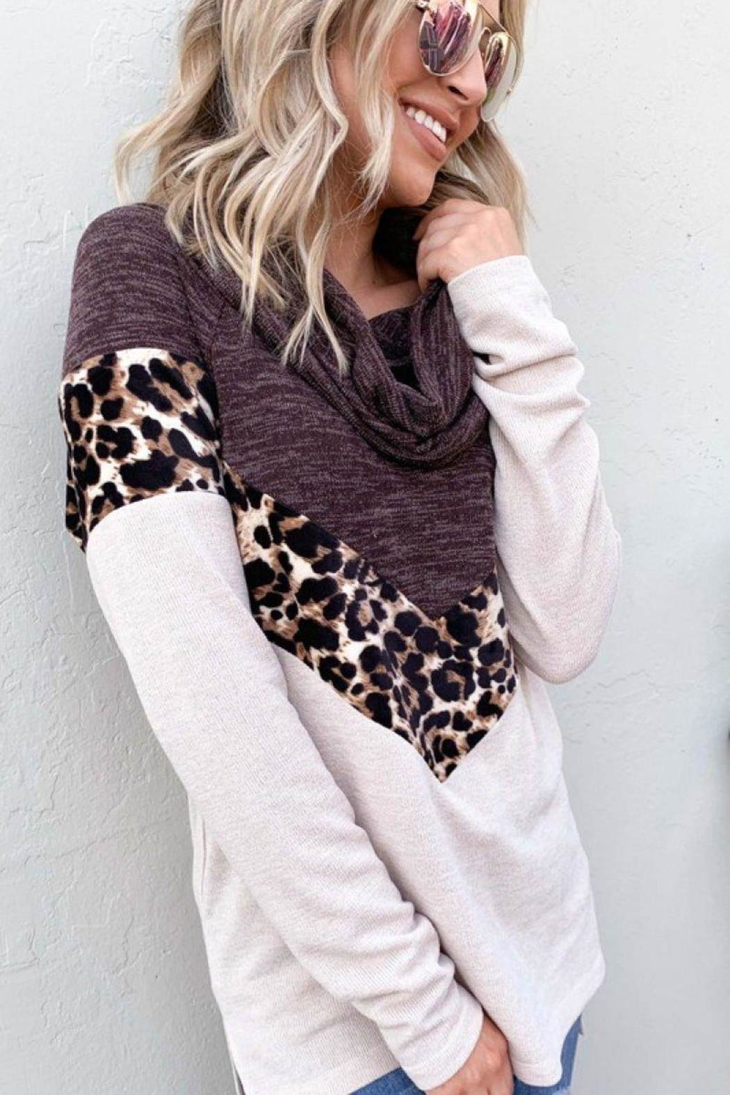 And the Why Leopard Color-Block Top - Side Cropped Image