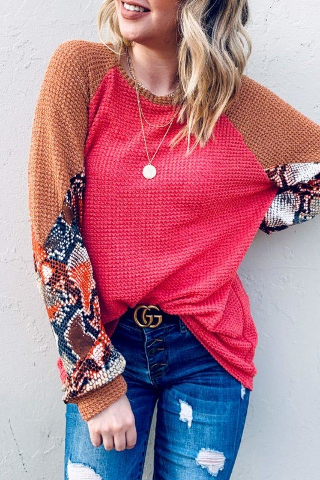 And the Why Snake Color-Block Tunic - Front Full Image