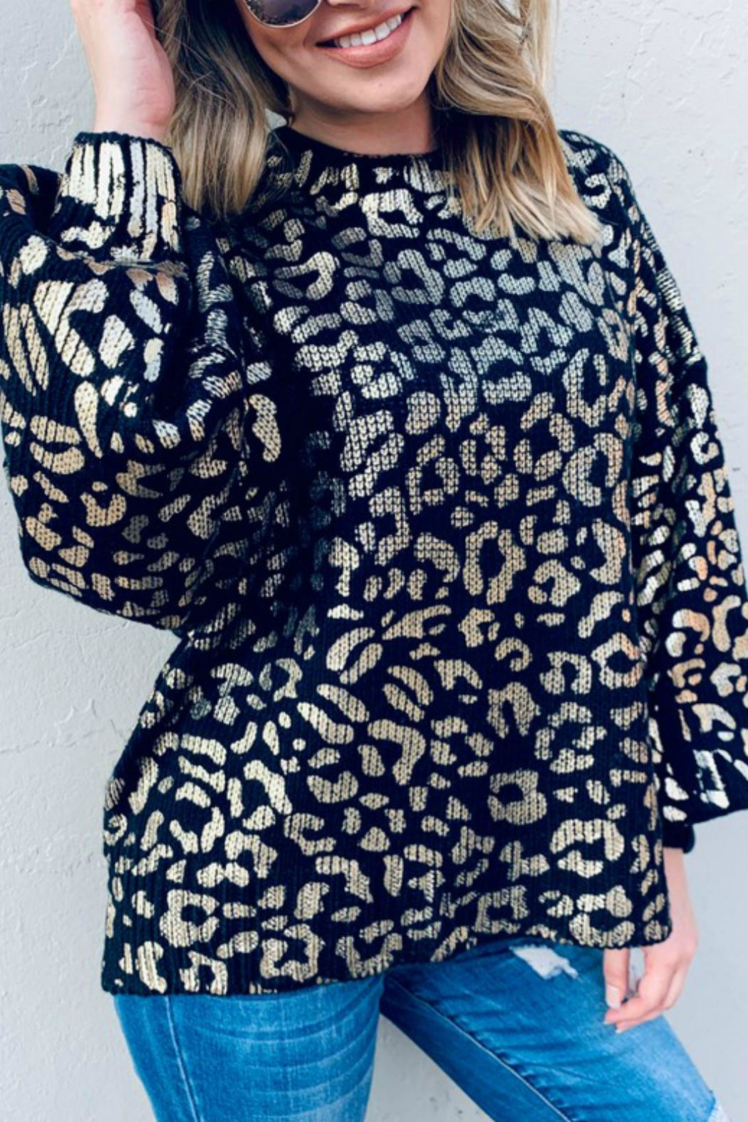 And the Why Valetta Leopard Sweater - Back Cropped Image