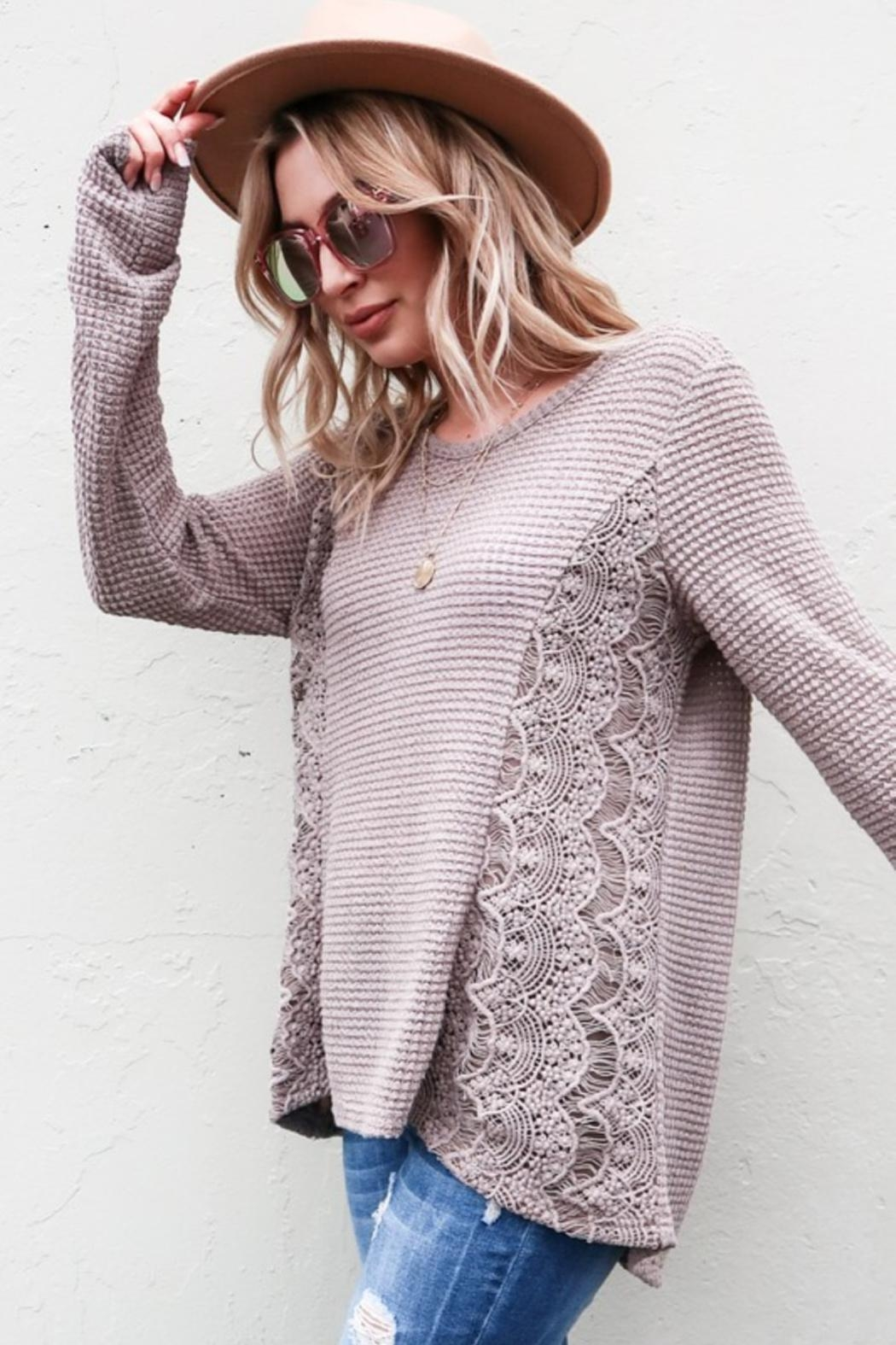 And the Why Waffle Lace-Detail Top - Main Image