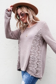 And the Why Waffle Lace-Detail Top - Front cropped