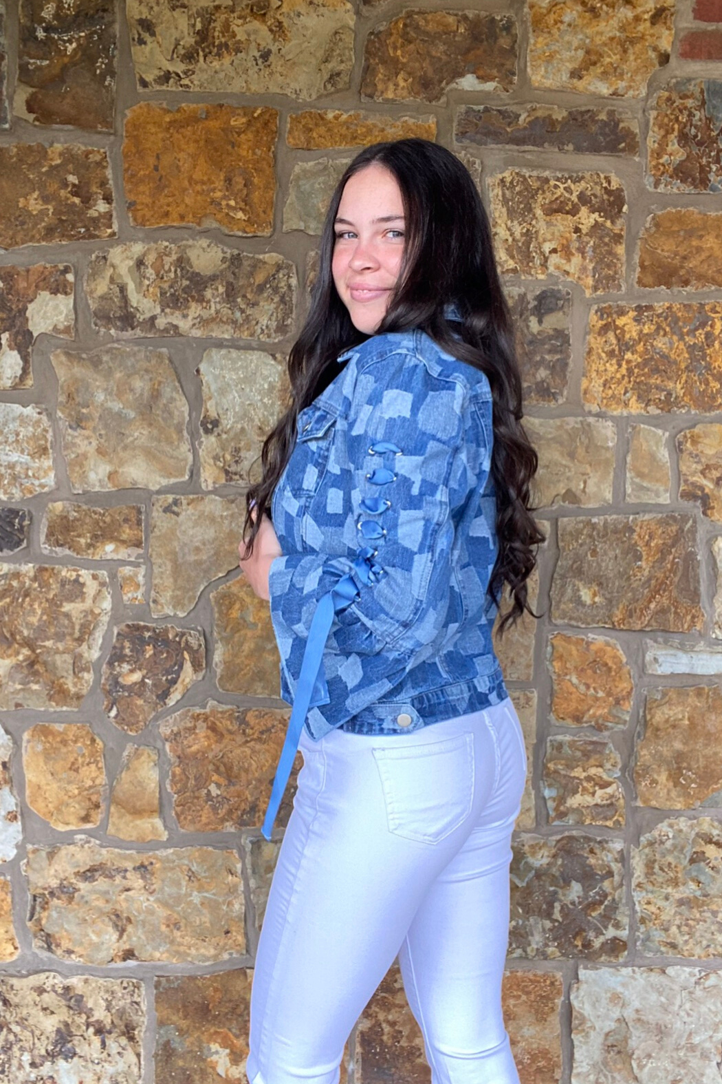 AZI Andie Jacket w Bell Lace Up Sleeve - Side Cropped Image