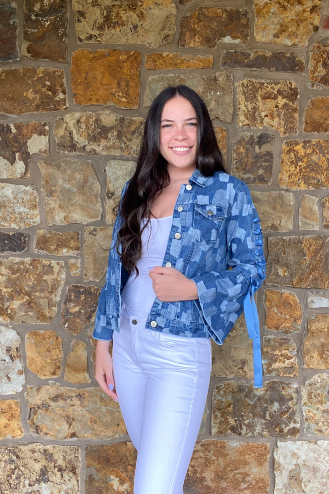 AZI Andie Jacket w Bell Lace Up Sleeve - Front Full Image