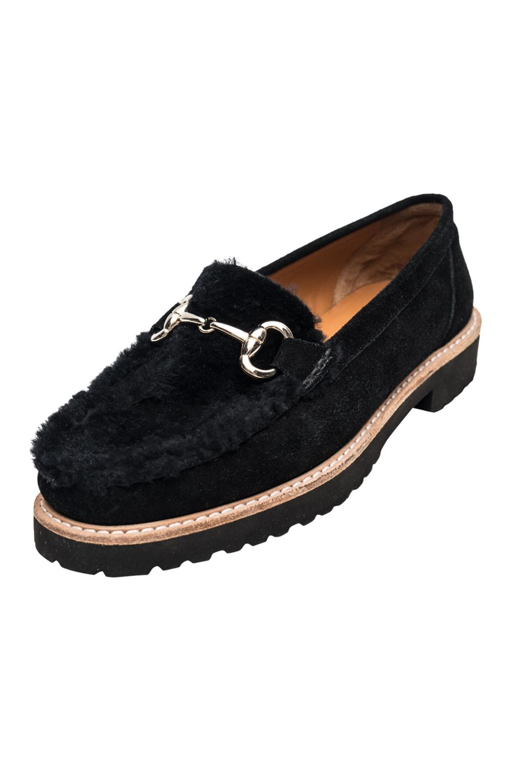 Andre Assous Black Shearling Loafer - Main Image