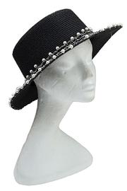 Andrea Bijoux Pearl Accent Brim Fashion Homburg Straw Hat - Front cropped