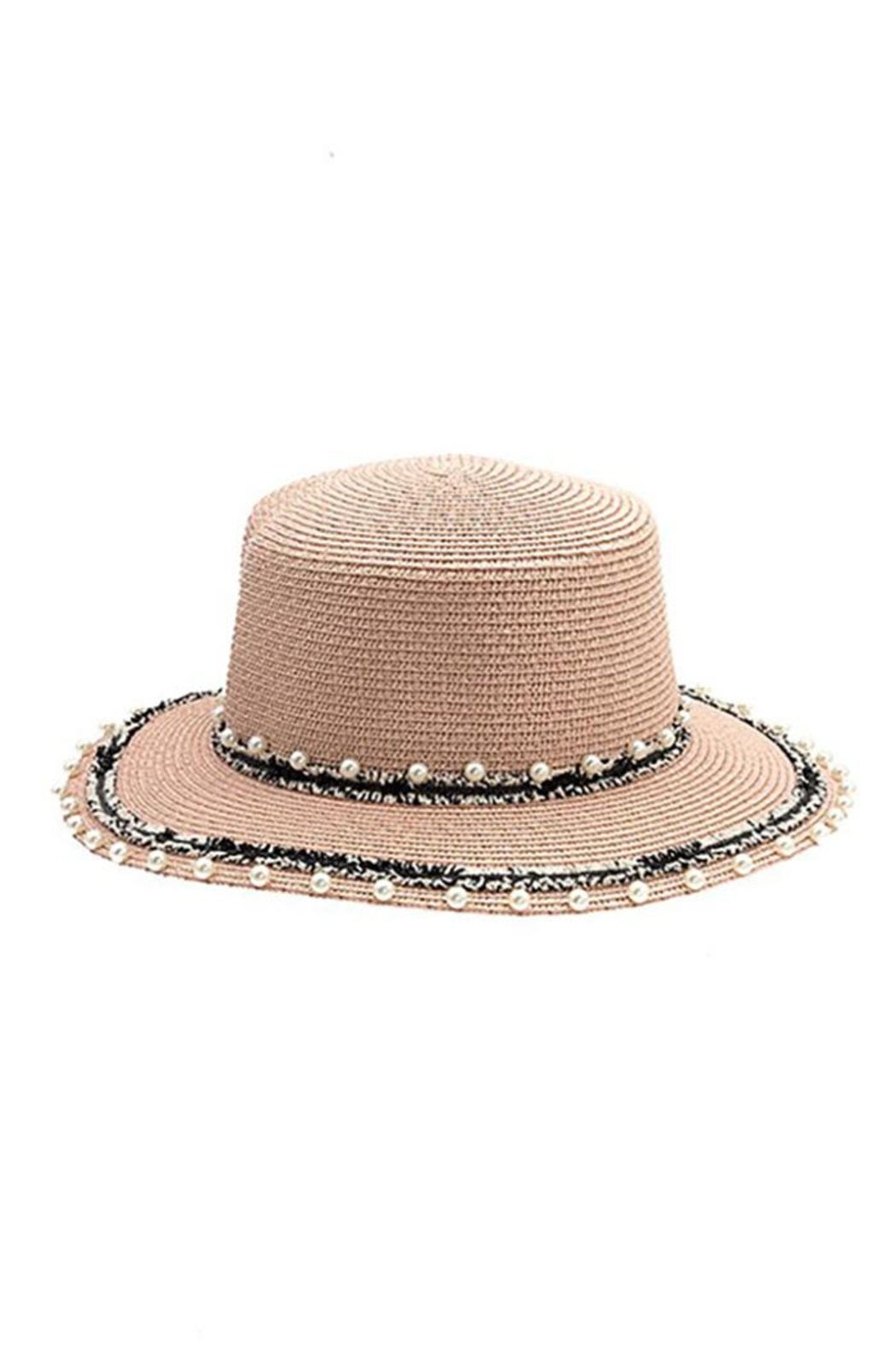Andrea Bijoux Pearl Accent Brim Fashion Homburg Straw Hat - Front Full Image