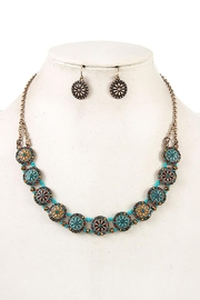 Andrea Bijoux Round Ornate Flower Accent Necklace Set - Front cropped